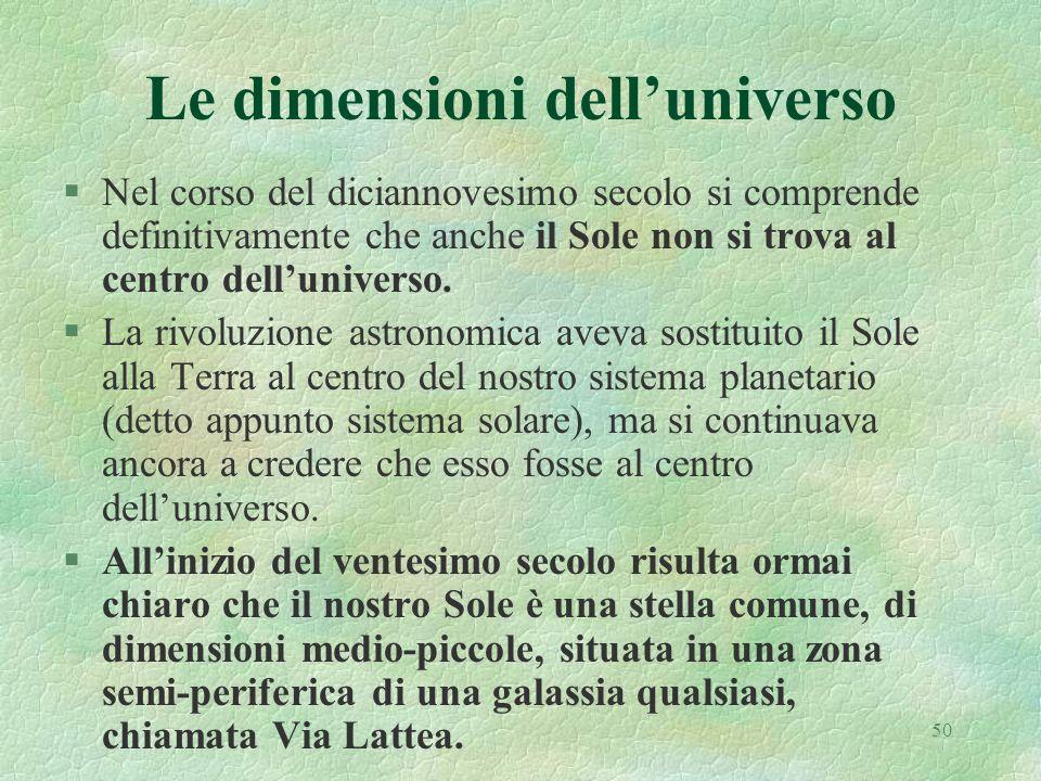 50 Le dimensioni delluniverso §Nel corso del diciannovesimo secolo si comprende definitivamente che anche il Sole non si trova al centro delluniverso.