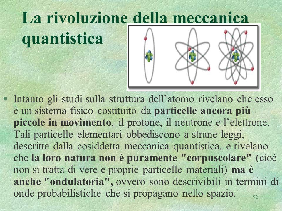 52 La rivoluzione della meccanica quantistica §Intanto gli studi sulla struttura dellatomo rivelano che esso è un sistema fisico costituito da particelle ancora più piccole in movimento, il protone, il neutrone e lelettrone.