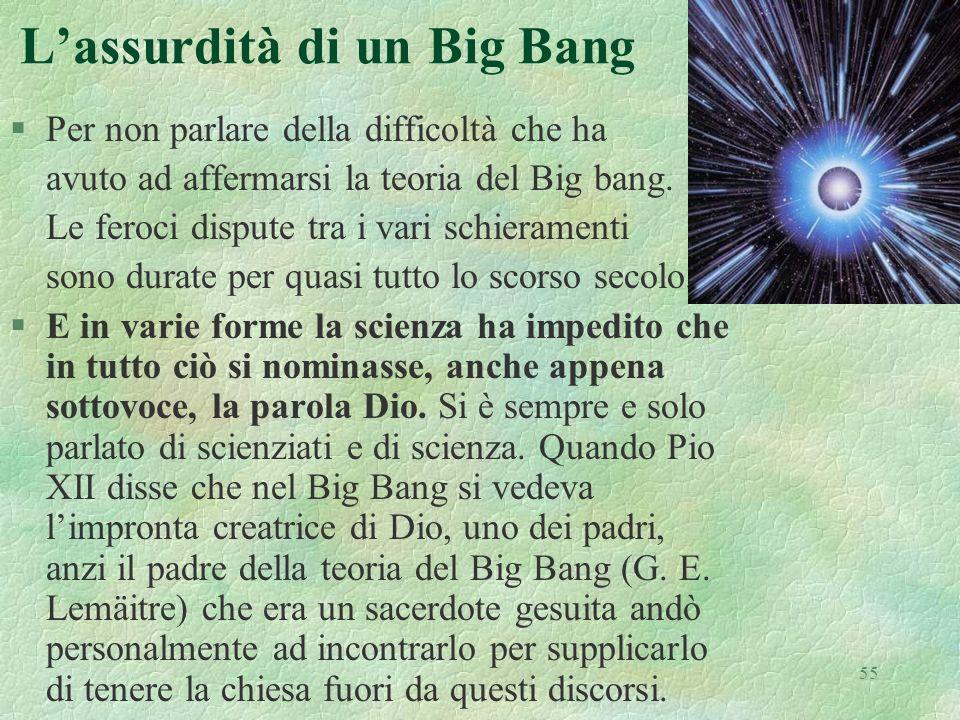 55 Lassurdità di un Big Bang §Per non parlare della difficoltà che ha avuto ad affermarsi la teoria del Big bang. Le feroci dispute tra i vari schiera