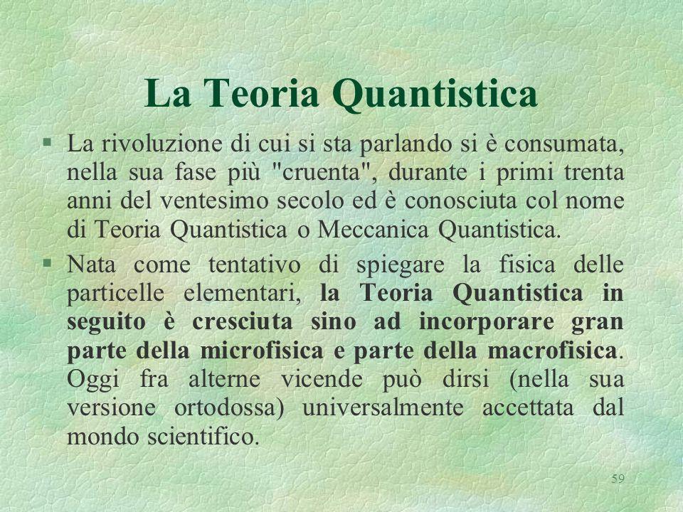 59 La Teoria Quantistica §La rivoluzione di cui si sta parlando si è consumata, nella sua fase più cruenta , durante i primi trenta anni del ventesimo secolo ed è conosciuta col nome di Teoria Quantistica o Meccanica Quantistica.