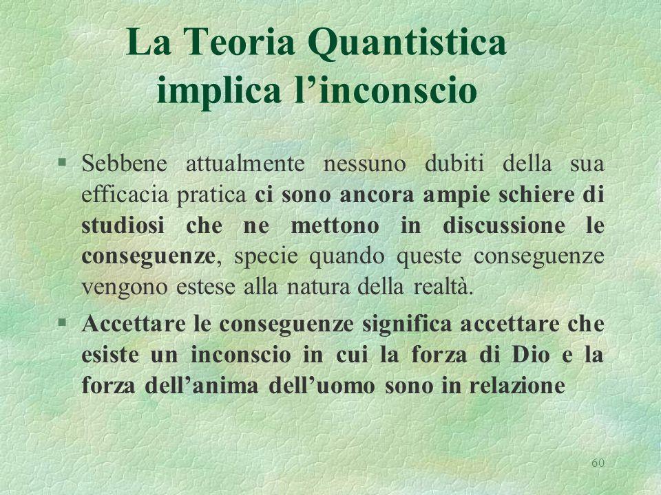 60 La Teoria Quantistica implica linconscio §Sebbene attualmente nessuno dubiti della sua efficacia pratica ci sono ancora ampie schiere di studiosi c