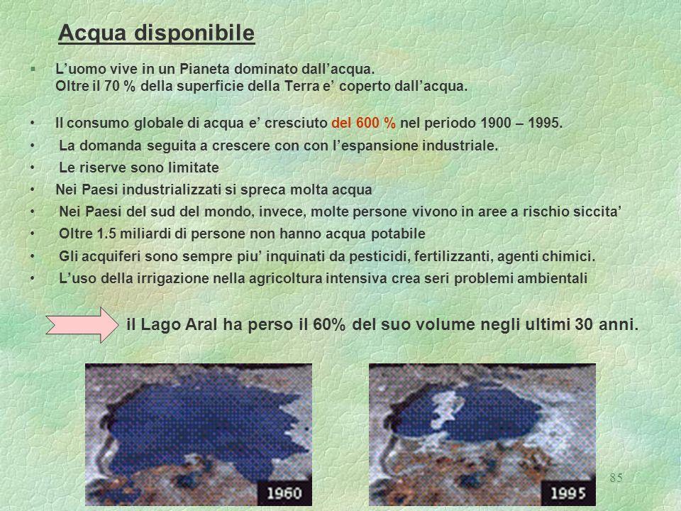 85 Acqua disponibile §Luomo vive in un Pianeta dominato dallacqua. Oltre il 70 % della superficie della Terra e coperto dallacqua. Il consumo globale