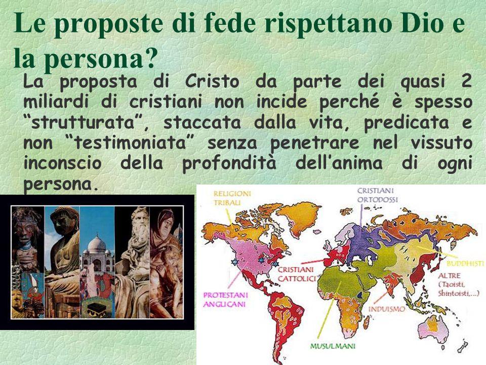90 Le proposte di fede rispettano Dio e la persona? La proposta di Cristo da parte dei quasi 2 miliardi di cristiani non incide perché è spesso strutt