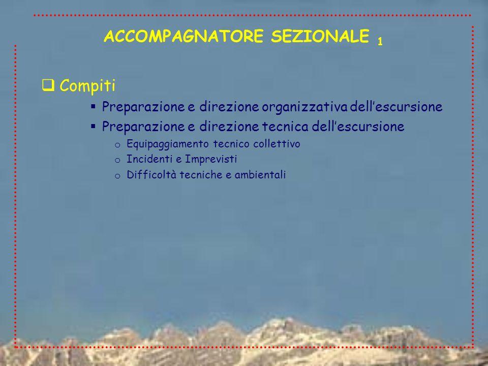 Compiti Preparazione e direzione organizzativa dellescursione Preparazione e direzione tecnica dellescursione o Equipaggiamento tecnico collettivo o I