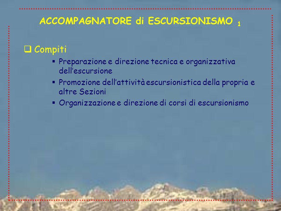 Compiti Preparazione e direzione tecnica e organizzativa dellescursione Promozione dellattività escursionistica della propria e altre Sezioni Organizz