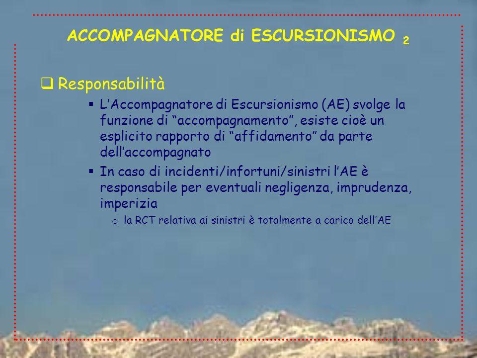 Responsabilità LAccompagnatore di Escursionismo (AE) svolge la funzione di accompagnamento, esiste cioè un esplicito rapporto di affidamento da parte dellaccompagnato In caso di incidenti/infortuni/sinistri lAE è responsabile per eventuali negligenza, imprudenza, imperizia o la RCT relativa ai sinistri è totalmente a carico dellAE ACCOMPAGNATORE di ESCURSIONISMO 2