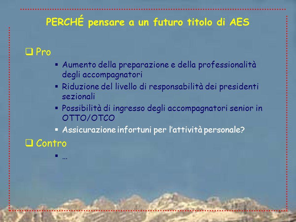 Pro Aumento della preparazione e della professionalità degli accompagnatori Riduzione del livello di responsabilità dei presidenti sezionali Possibili