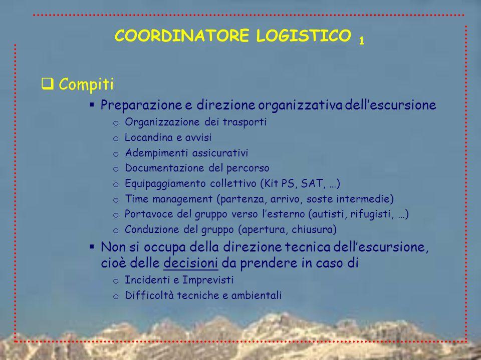 Responsabilità Il Coordinatore Logistico (CL) è responsabile della sola componente organizzativa dellescursione Non svolge la funzione di accompagnamento, non esiste un rapporto di affidamento dellaccompagnato verso il CL o in caso di incidenti/infortuni/sinistri non si possono addebitare al CL negligenza, imprudenza, imperizia o la RCT relativa ai sinistri è totalmente a carico del Presidente sezionale COORDINATORE LOGISTICO 2