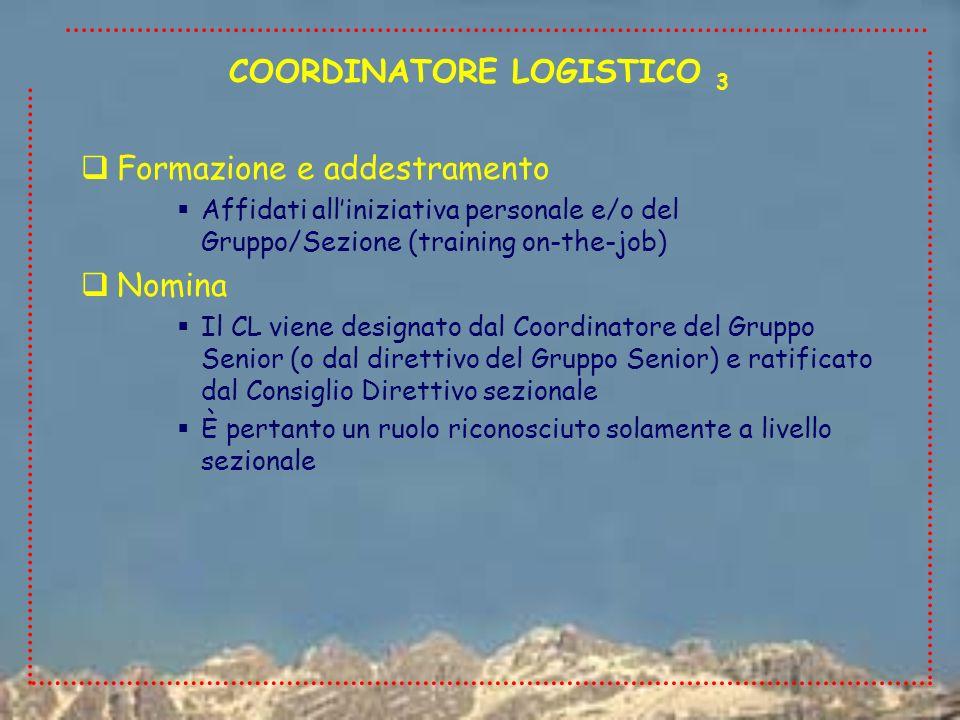 Formazione e addestramento Affidati alliniziativa personale e/o del Gruppo/Sezione (training on-the-job) Nomina Il CL viene designato dal Coordinatore
