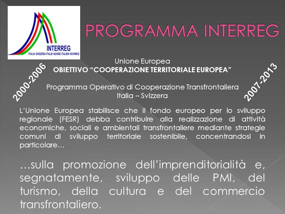Unione Europea OBIETTIVO COOPERAZIONE TERRITORIALE EUROPEA Programma Operativo di Cooperazione Transfrontaliera Italia – Svizzera LUnione Europea stab