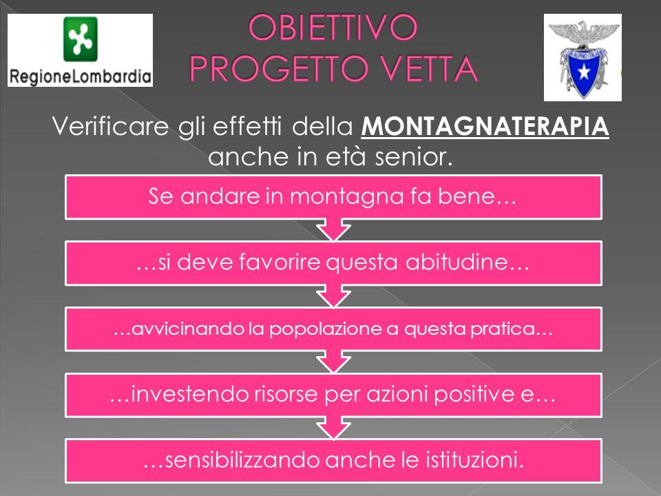 Verificare gli effetti della MONTAGNATERAPIA anche in età senior. …sensibilizzando anche le istituzioni. …investendo risorse per azioni positive e… …a