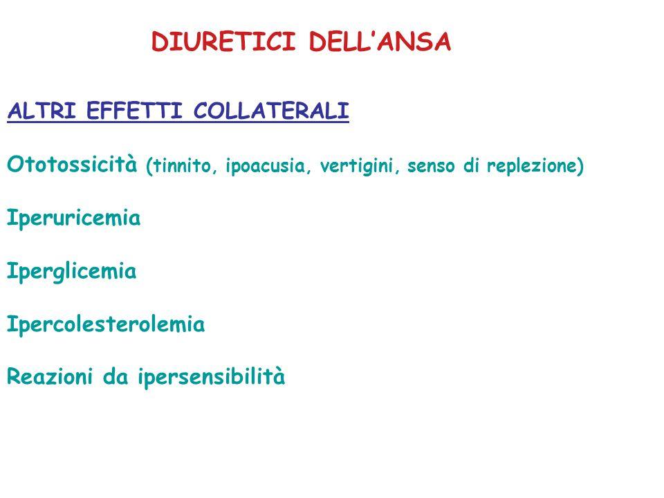 ALTRI EFFETTI COLLATERALI Ototossicità (tinnito, ipoacusia, vertigini, senso di replezione) Iperuricemia Iperglicemia Ipercolesterolemia Reazioni da i