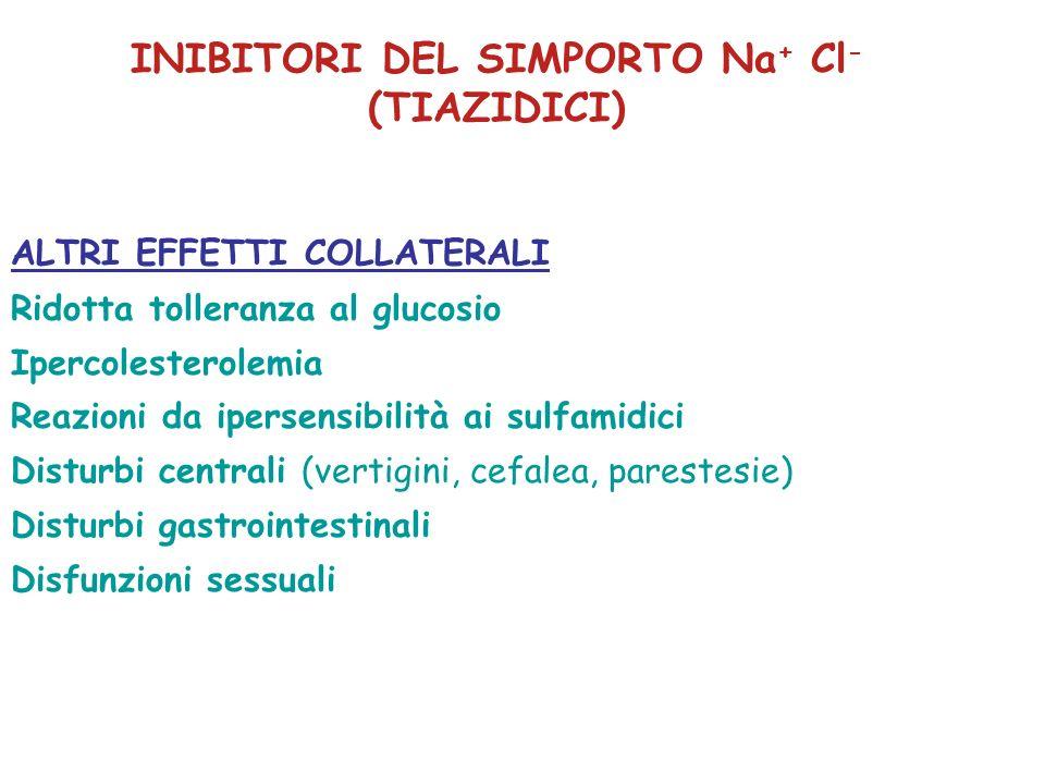 ALTRI EFFETTI COLLATERALI Ridotta tolleranza al glucosio Ipercolesterolemia Reazioni da ipersensibilità ai sulfamidici Disturbi centrali (vertigini, c