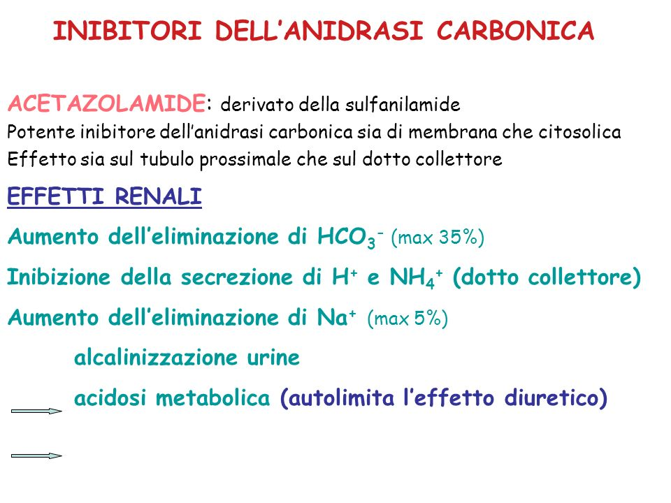 INIBITORI DELLANIDRASI CARBONICA EFFETTI SULLEMODINAMICA RENALE Attivazione riflesso tubulo-glomerulare aumento resistenza arteriole afferenti riduzione RBF e GFR EFFETTI EXTRA-RENALI OCCHIO:riduzione pressione intraoculare CNS:parestesia, sonnolenza azione antiepilettica (per acidosi?) Aumento CO 2 tessutale e riduzione CO 2 espirata (per effetto sugli eritrociti)