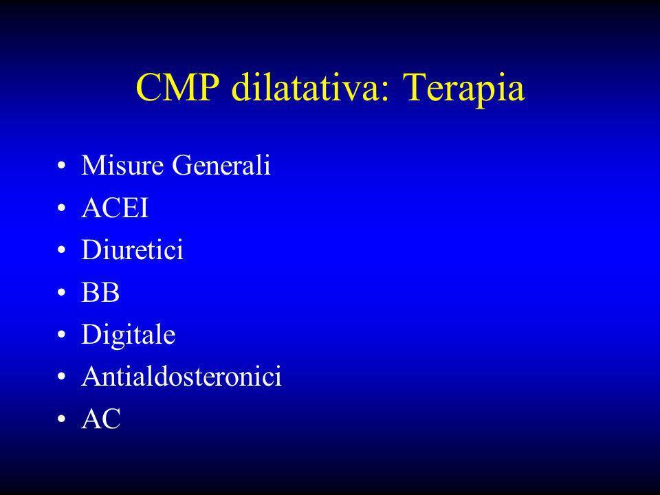 CMP dilatativa: Terapia Misure Generali ACEI Diuretici BB Digitale Antialdosteronici AC