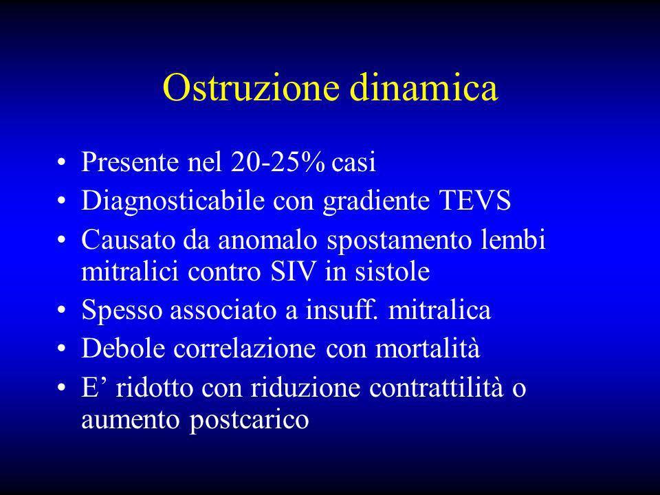 Ostruzione dinamica Presente nel 20-25% casi Diagnosticabile con gradiente TEVS Causato da anomalo spostamento lembi mitralici contro SIV in sistole S
