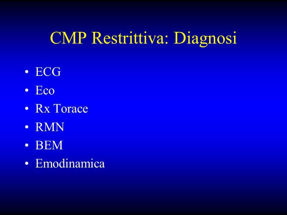 CMP Restrittiva: Diagnosi ECG Eco Rx Torace RMN BEM Emodinamica