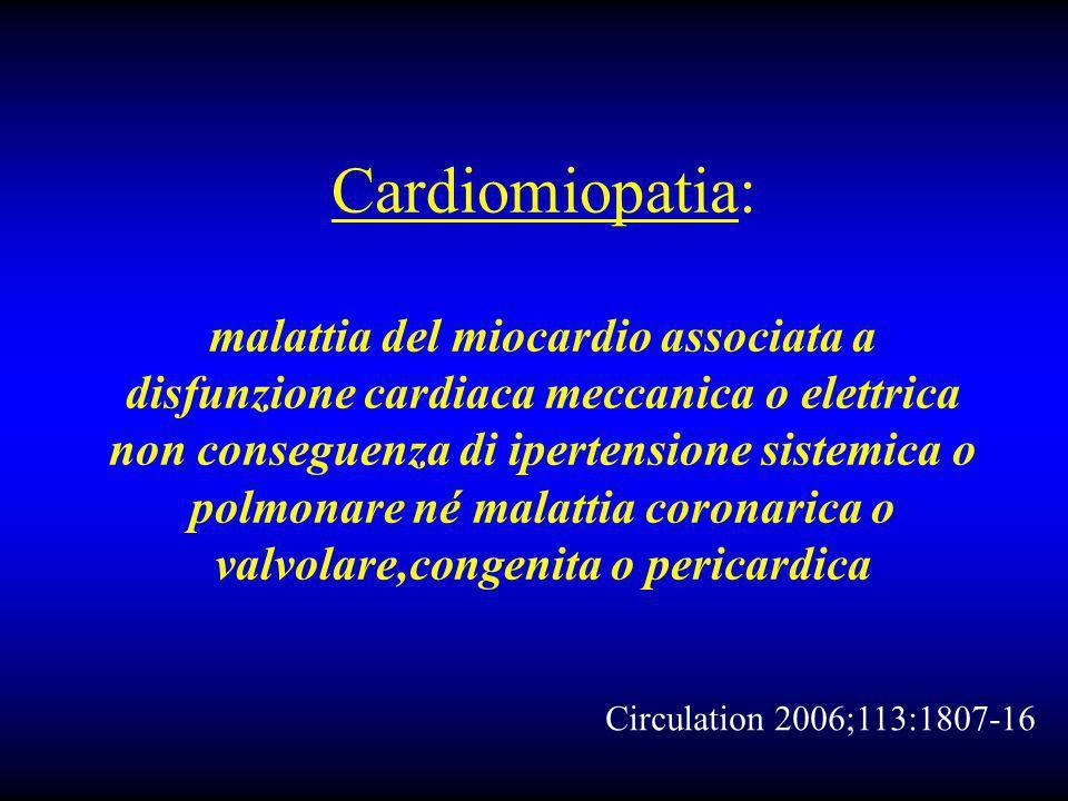 Cardiomiopatia: malattia del miocardio associata a disfunzione cardiaca meccanica o elettrica non conseguenza di ipertensione sistemica o polmonare né