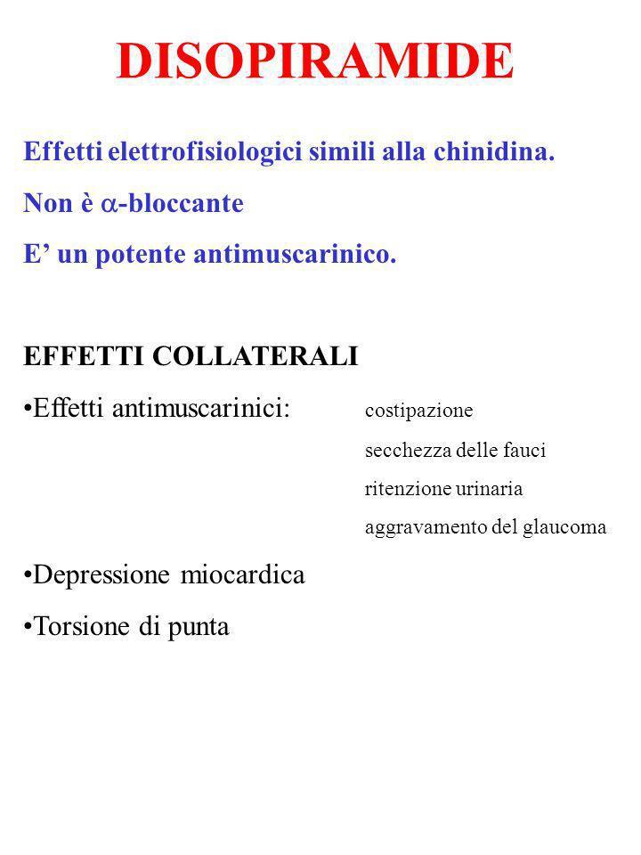 DISOPIRAMIDE Effetti elettrofisiologici simili alla chinidina. Non è -bloccante E un potente antimuscarinico. EFFETTI COLLATERALI Effetti antimuscarin
