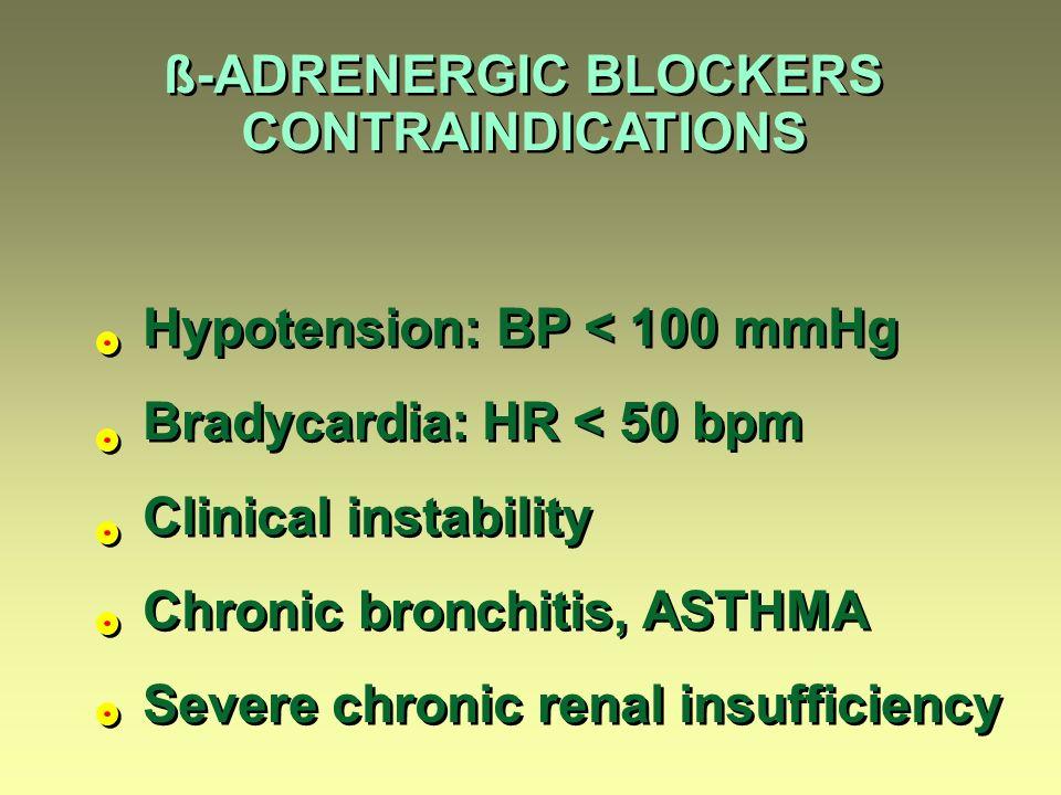 ß-ADRENERGIC BLOCKERS CONTRAINDICATIONS ß-ADRENERGIC BLOCKERS CONTRAINDICATIONS Hypotension: BP < 100 mmHg Bradycardia: HR < 50 bpm Clinical instability Chronic bronchitis, ASTHMA Severe chronic renal insufficiency Hypotension: BP < 100 mmHg Bradycardia: HR < 50 bpm Clinical instability Chronic bronchitis, ASTHMA Severe chronic renal insufficiency