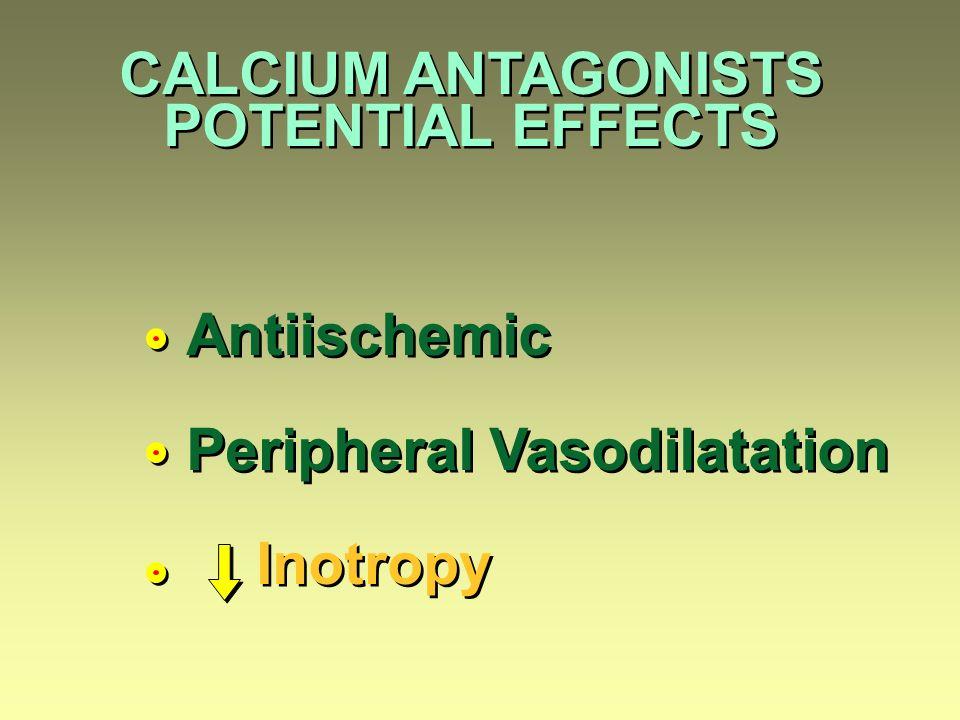 CALCIUM ANTAGONISTS POTENTIAL EFFECTS CALCIUM ANTAGONISTS POTENTIAL EFFECTS Antiischemic Peripheral Vasodilatation Inotropy Antiischemic Peripheral Vasodilatation Inotropy