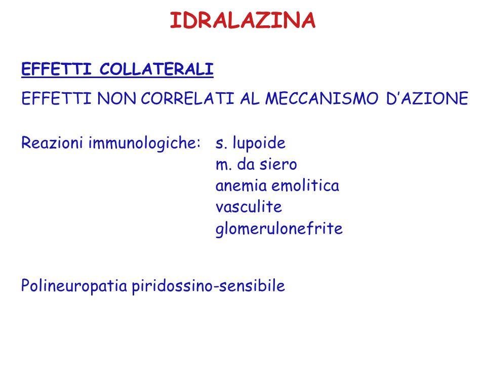 IDRALAZINA EFFETTI COLLATERALI EFFETTI NON CORRELATI AL MECCANISMO DAZIONE Reazioni immunologiche: s. lupoide m. da siero anemia emolitica vasculite g