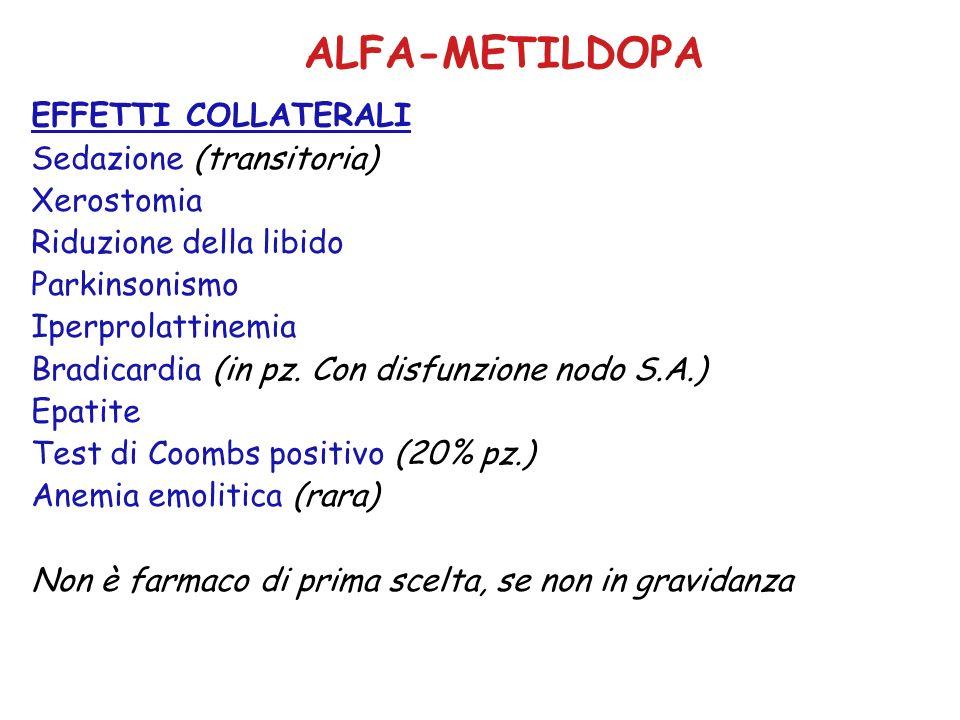 ALFA-METILDOPA EFFETTI COLLATERALI Sedazione (transitoria) Xerostomia Riduzione della libido Parkinsonismo Iperprolattinemia Bradicardia (in pz. Con d