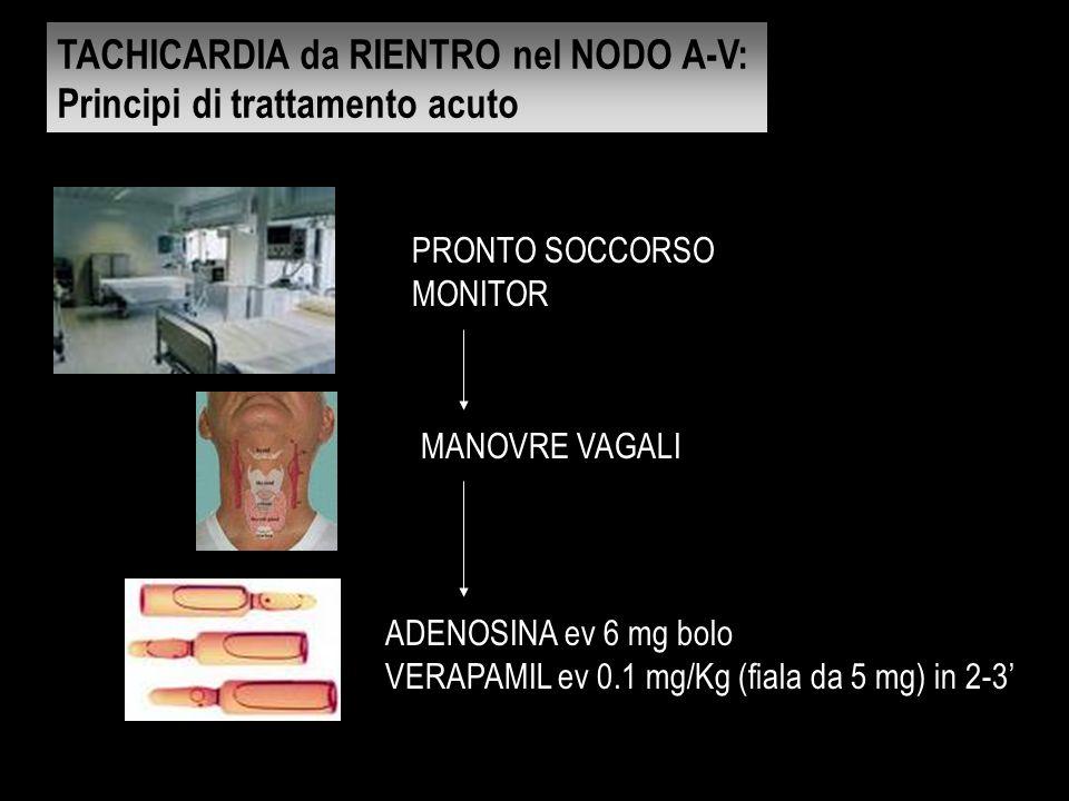 TACHICARDIA da RIENTRO nel NODO A-V: Principi di trattamento acuto PRONTO SOCCORSO MONITOR MANOVRE VAGALI ADENOSINA ev 6 mg bolo VERAPAMIL ev 0.1 mg/K