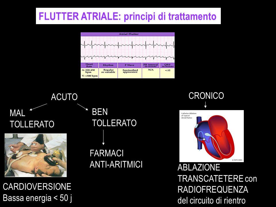 FLUTTER ATRIALE: principi di trattamento ACUTO MAL TOLLERATO CARDIOVERSIONE Bassa energia < 50 j BEN TOLLERATO FARMACI ANTI-ARITMICI CRONICO ABLAZIONE