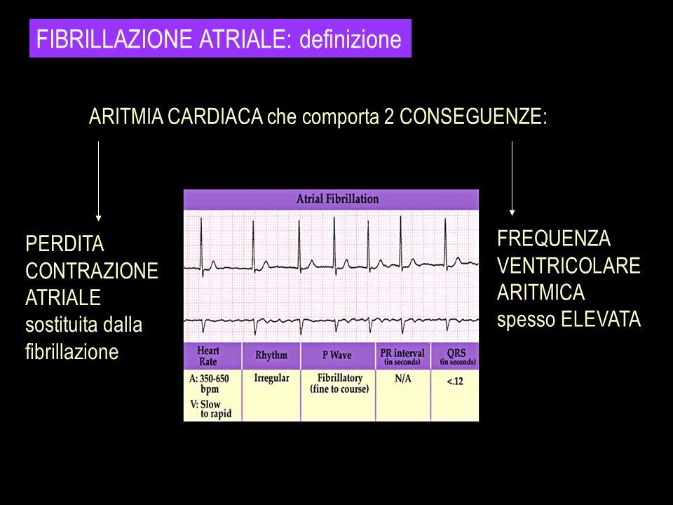 FIBRILLAZIONE ATRIALE: definizione PERDITA CONTRAZIONE ATRIALE sostituita dalla fibrillazione FREQUENZA VENTRICOLARE ARITMICA spesso ELEVATA ARITMIA C