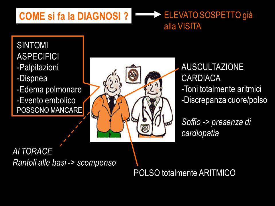 COME si fa la DIAGNOSI ? SINTOMI ASPECIFICI -Palpitazioni -Dispnea -Edema polmonare -Evento embolico POSSONO MANCARE POLSO totalmente ARITMICO AUSCULT