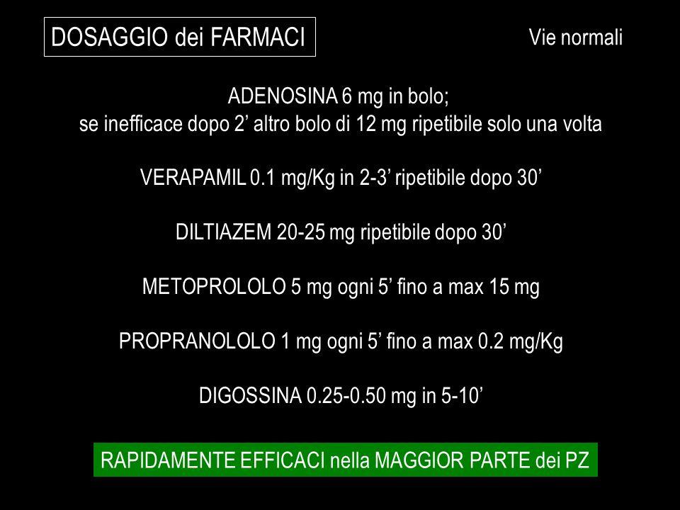 ADENOSINA 6 mg in bolo; se inefficace dopo 2 altro bolo di 12 mg ripetibile solo una volta VERAPAMIL 0.1 mg/Kg in 2-3 ripetibile dopo 30 DILTIAZEM 20-