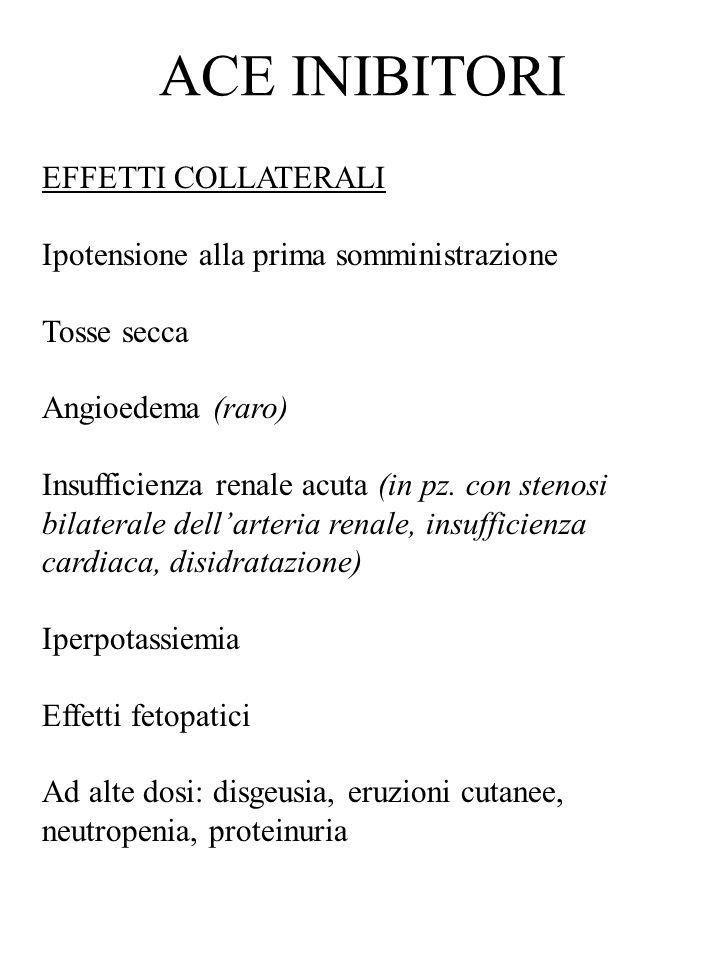 EFFETTI COLLATERALI Ipotensione alla prima somministrazione Tosse secca Angioedema (raro) Insufficienza renale acuta (in pz. con stenosi bilaterale de