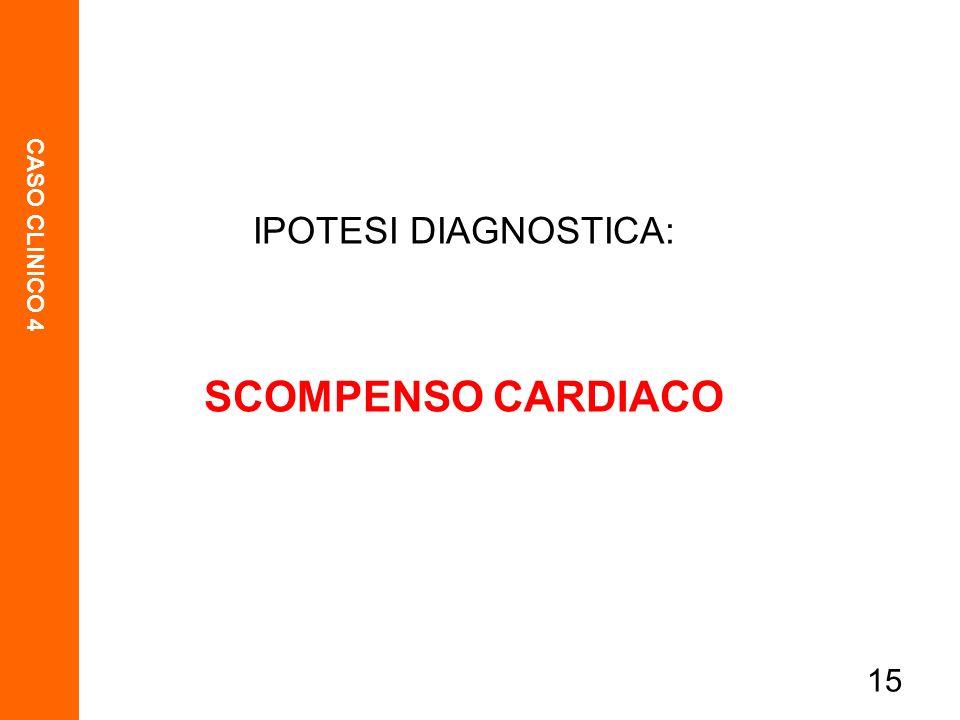 CASO CLINICO 4 15 IPOTESI DIAGNOSTICA: SCOMPENSO CARDIACO