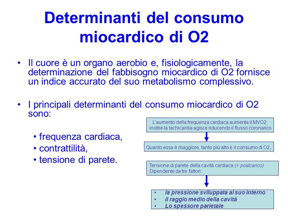 Determinanti del consumo miocardico di O2 Il cuore è un organo aerobio e, fisiologicamente, la determinazione del fabbisogno miocardico di O2 fornisce