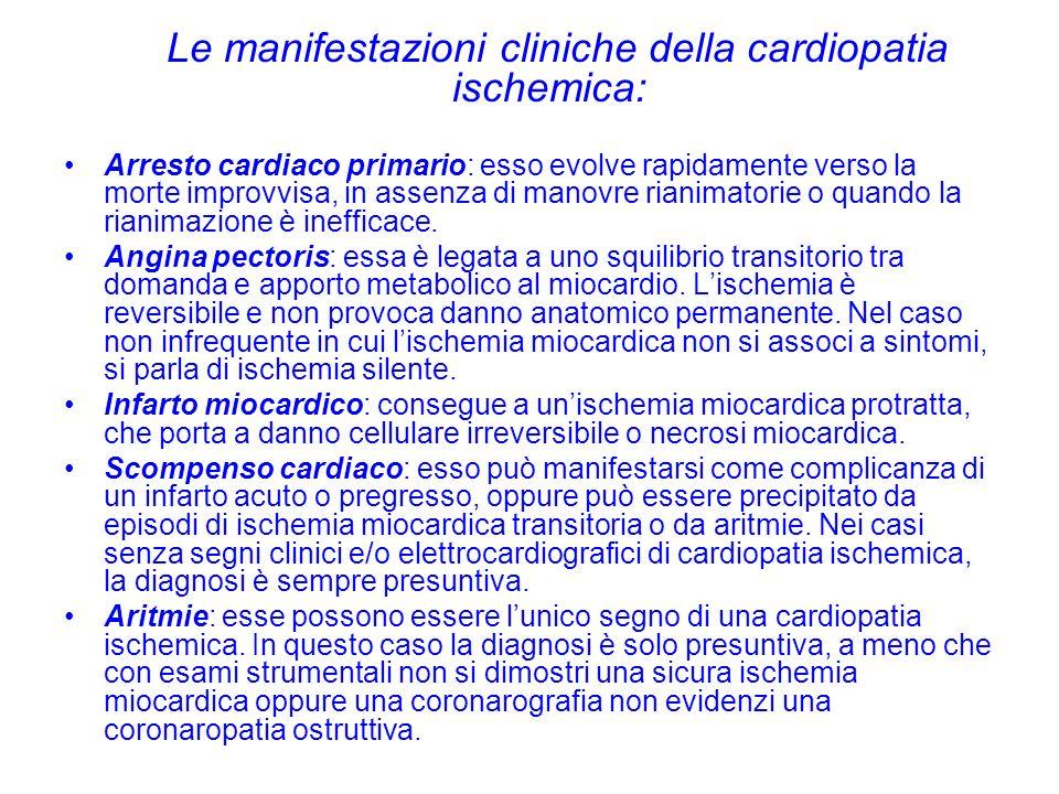 Le manifestazioni cliniche della cardiopatia ischemica: Arresto cardiaco primario: esso evolve rapidamente verso la morte improvvisa, in assenza di ma