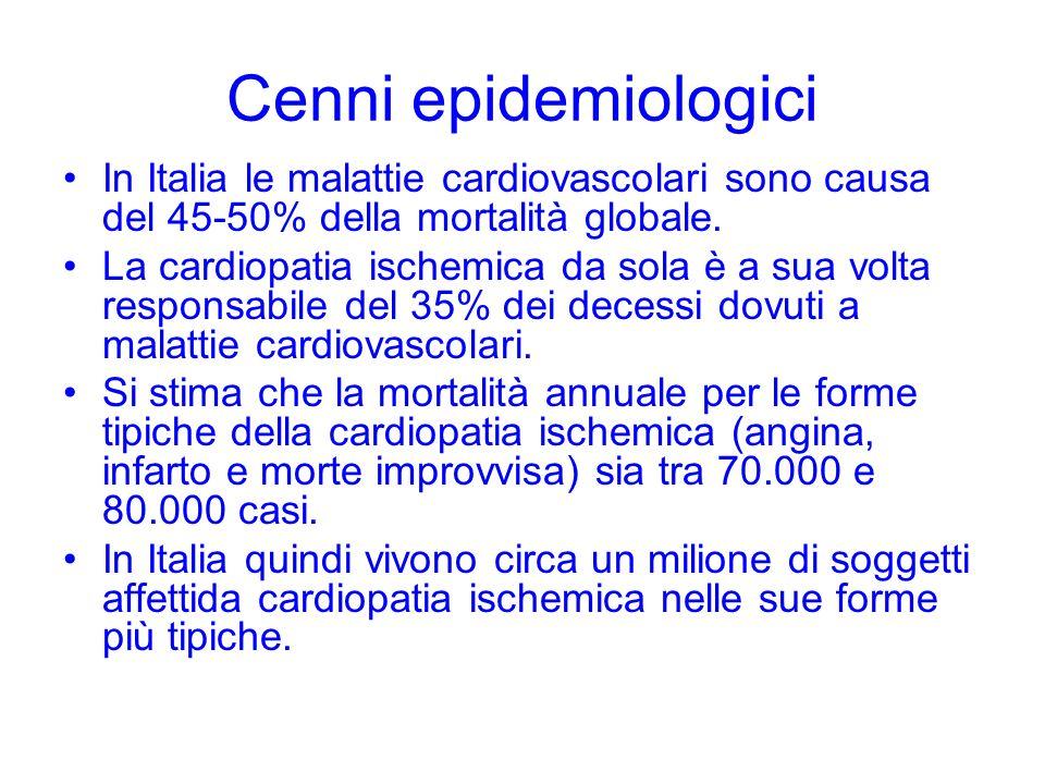 Cenni epidemiologici In Italia le malattie cardiovascolari sono causa del 45-50% della mortalità globale. La cardiopatia ischemica da sola è a sua vol