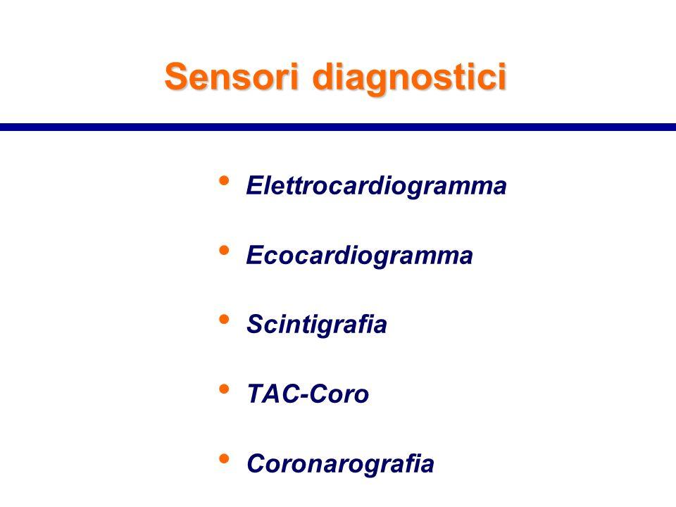 Sensori diagnostici Elettrocardiogramma Ecocardiogramma Scintigrafia TAC-Coro Coronarografia