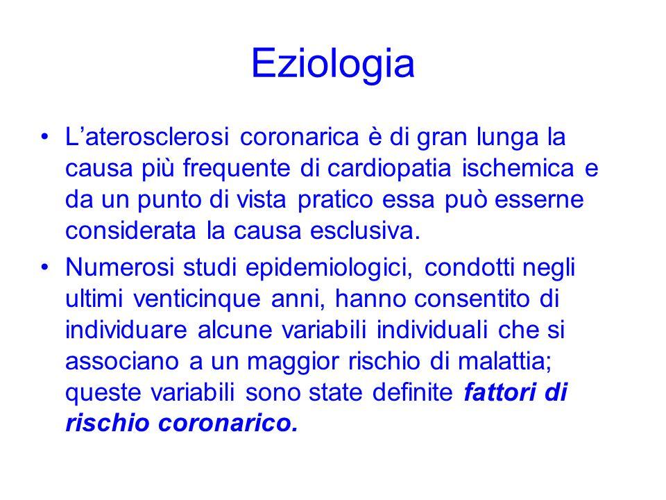 Eziologia Laterosclerosi coronarica è di gran lunga la causa più frequente di cardiopatia ischemica e da un punto di vista pratico essa può esserne co