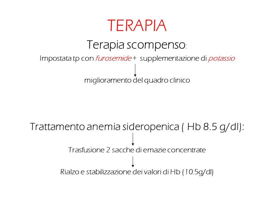 TERAPIA Terapia scompenso : Impostata tp con furosemide + supplementazione di potassio miglioramento del quadro clinico Trattamento anemia sideropenic