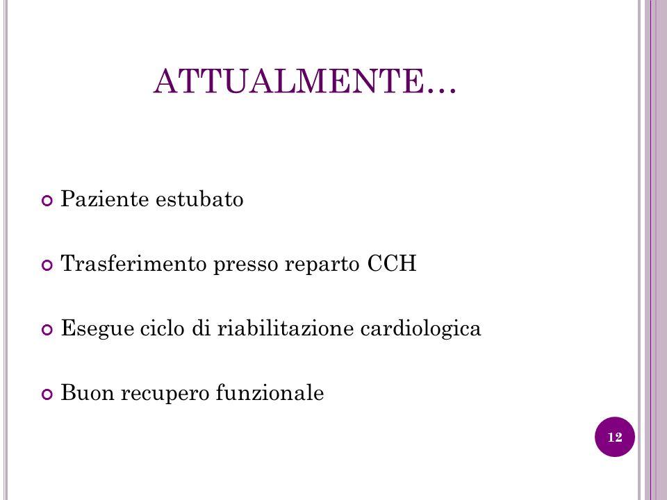 ATTUALMENTE… Paziente estubato Trasferimento presso reparto CCH Esegue ciclo di riabilitazione cardiologica Buon recupero funzionale 12