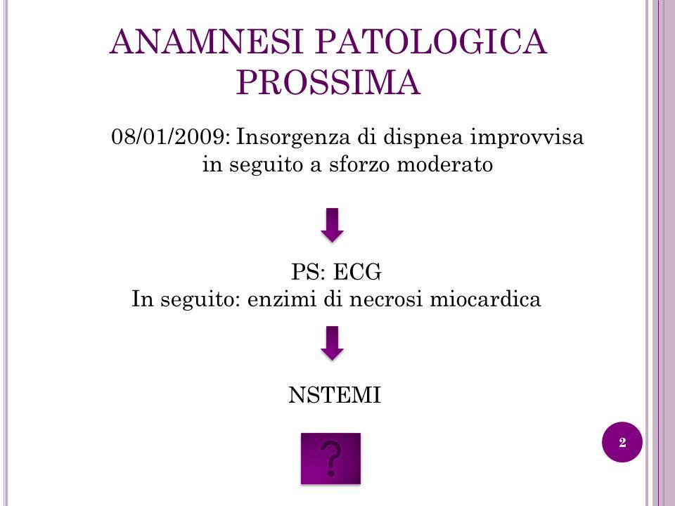ANAMNESI PATOLOGICA PROSSIMA 08/01/2009: Insorgenza di dispnea improvvisa in seguito a sforzo moderato PS: ECG In seguito: enzimi di necrosi miocardic