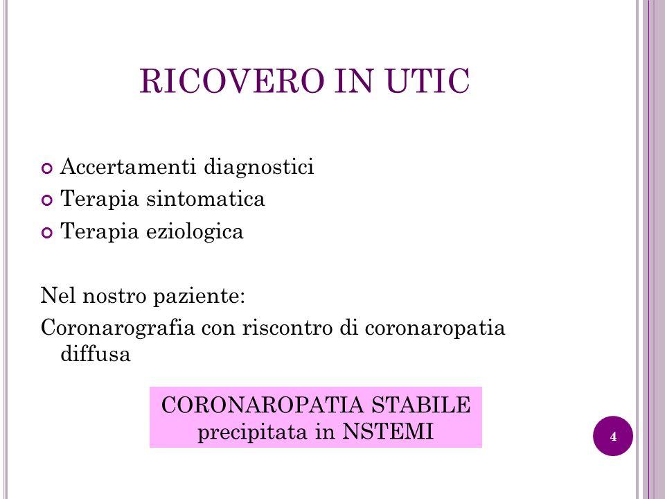 RICOVERO IN UTIC Accertamenti diagnostici Terapia sintomatica Terapia eziologica Nel nostro paziente: Coronarografia con riscontro di coronaropatia di