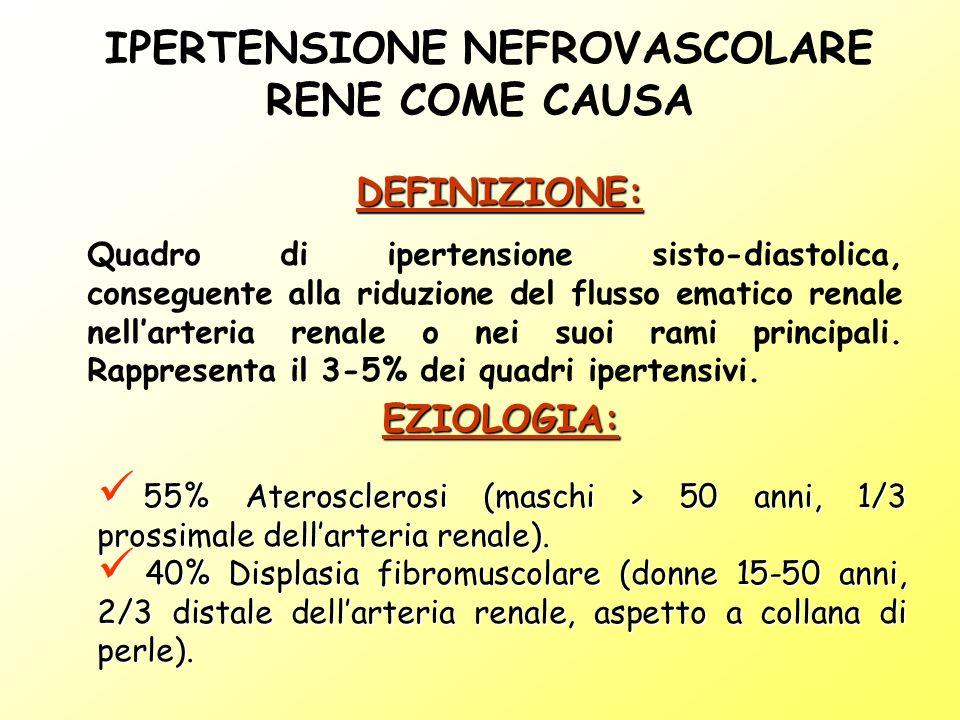 IPERTENSIONE NEFROVASCOLARE RENE COME CAUSA Quadro di ipertensione sisto-diastolica, conseguente alla riduzione del flusso ematico renale nellarteria renale o nei suoi rami principali.
