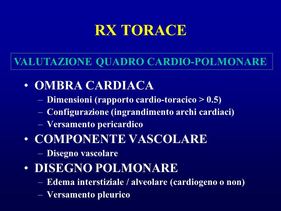 RX TORACE OMBRA CARDIACA –Dimensioni (rapporto cardio-toracico > 0.5) –Configurazione (ingrandimento archi cardiaci) –Versamento pericardico COMPONENT