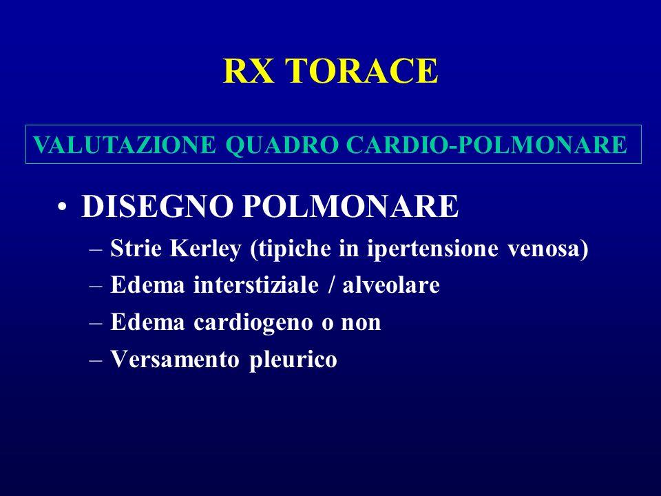 RX TORACE DISEGNO POLMONARE –Strie Kerley (tipiche in ipertensione venosa) –Edema interstiziale / alveolare –Edema cardiogeno o non –Versamento pleuri