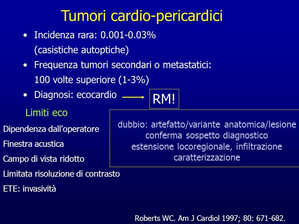 Tumori cardio-pericardici Incidenza rara: 0.001-0.03% (casistiche autoptiche) Frequenza tumori secondari o metastatici: 100 volte superiore (1-3%) Dia