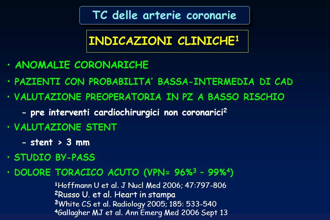 INDICAZIONI CLINICHE 1 ANOMALIE CORONARICHE PAZIENTI CON PROBABILITA BASSA-INTERMEDIA DI CAD VALUTAZIONE PREOPERATORIA IN PZ A BASSO RISCHIO - pre int