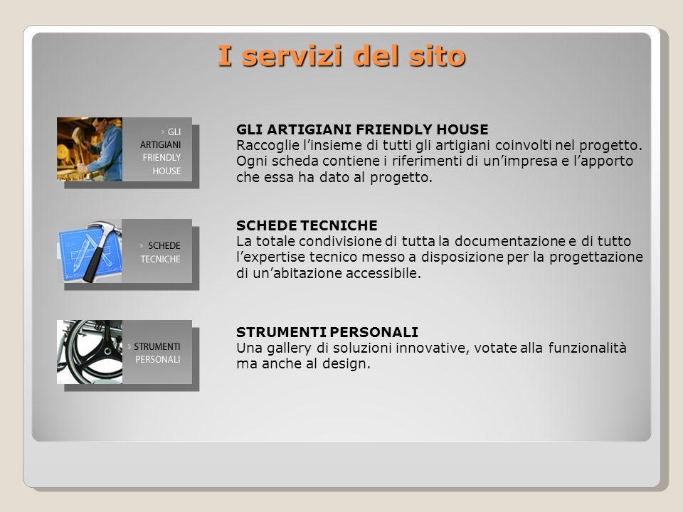 I servizi del sito GLI ARTIGIANI FRIENDLY HOUSE Raccoglie linsieme di tutti gli artigiani coinvolti nel progetto.