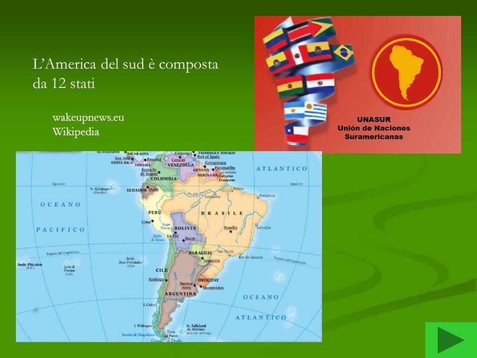 PaesePaese o territorio territorio Superficie (km²) Popolazione (luglio 2008 stima) Densità per km² Capitale Argentina2 766 890 40 677 34814,3Buenos Aires Bolivia1 098 580 9 247 8168,1Sucre [8] Brasile8 514 877200 908 59823,6Brasilia Cile756 950 16 800 00021,1Santiago Colombia1 138 910 45 013 67437,7Bogotá Ecuador283 560 13 927 65047,1Quito Isole FalklandIsole Falkland (Regno Unito) [Regno Unito 12 173 2 9670,24Port Stanley Georgia del Sud e isole Sandwich meridionaliGeorgia del Sud e isole Sandwich meridionali (Regno Unito) [10]Regno Unito [10] 3 093 200,0Grytviken Guiana FranceseGuiana Francese (Francia)Francia91 000 209 0002,1Cayenne Guyana214 970 770 7943,6Georgetown Paraguay406 750 6 347 88415,6Asunción Perù1 285 220 27 925 62821,7Lima Suriname163 270 438 1442,7Paramaribo Uruguay176 220 3 477 77819,4Montevideo Venezuela912 050 26 414 81527,8Caracas Wikipedia